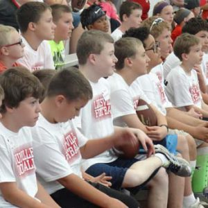 attentive kids at the Just for Kids Football Clinic