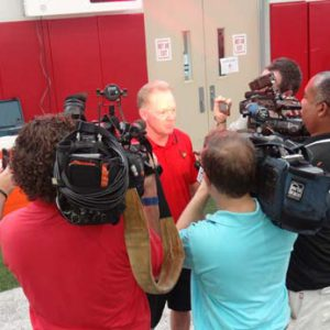 Bobby Petrino being interviewed