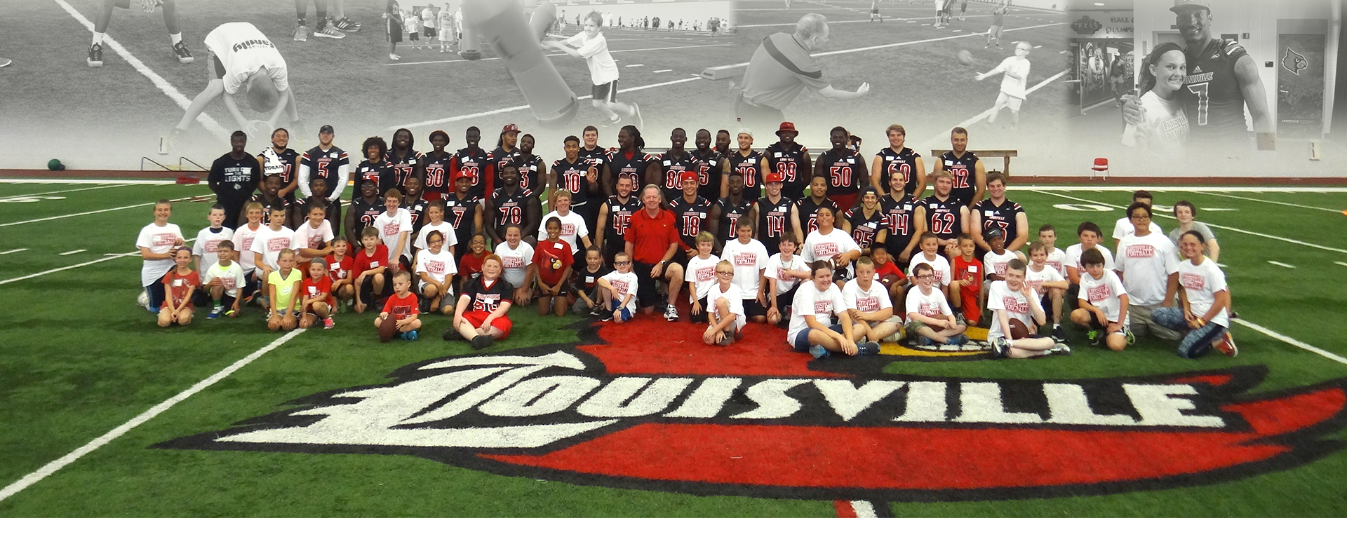 University of Louisville Football team Just for Kids Football Clinic